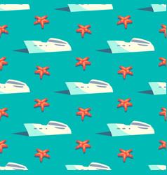 Yacht travel seamless pattern vector