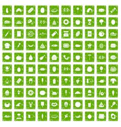100 favorite food icons set grunge green vector