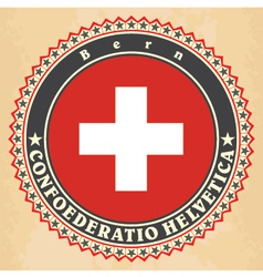 Vintage label cards of switzerland flag vector