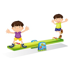 Kids playing with the seesaw vector image