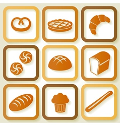 Set of 9 retro icons of fresh bread vector