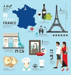 Paris france flat icons design travel concept vector