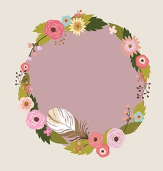 Floral wreath with feather vector