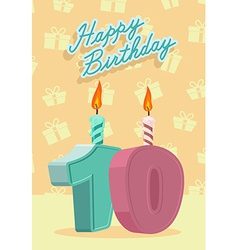 Happy birthday card with 10th birthday vector