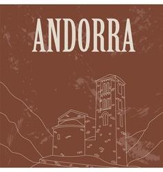 Andorra landmarks retro styled image vector