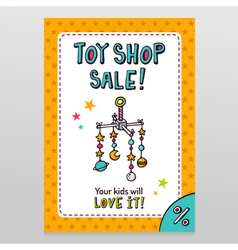 Toy shop sale flyer design with baby crib mobile vector
