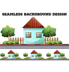 Seamless background with house on the road vector