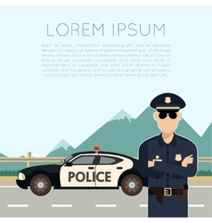 Police on the road banner vector