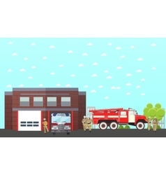 Fire fighting department banner station vector
