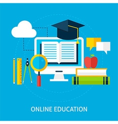 Online education flat concept vector
