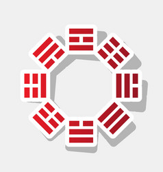 Bagua sign new year reddish icon with vector