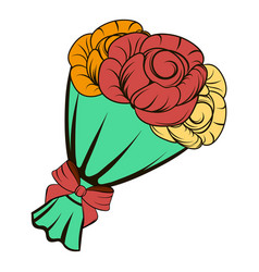 bouquet of roses icon cartoon vector image