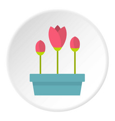 Box with flowers icon circle vector