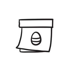 Calendar with easter egg sketch ico vector