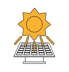 Color silhouette image yellow solar energy panel vector