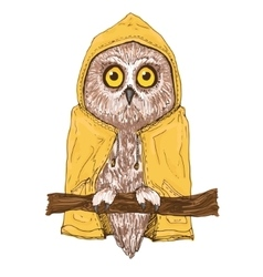 Colorful brown owl in bright yellow raincoat vector