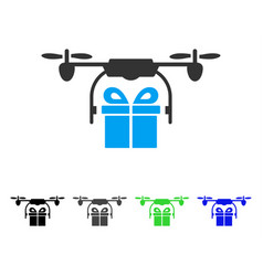 Drone gift delivery flat icon vector