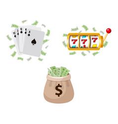 gambling symbols - slot machine cards jackpot vector image vector image