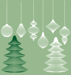 Geometric Christmas ornaments set vector image