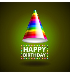 Happy birthday background with party hat vector