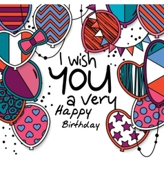Happy birthday greeting card patterned balloons vector