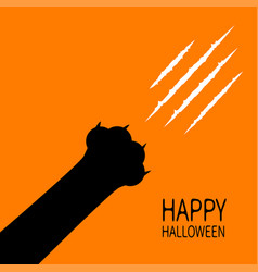 happy halloween card bloody claws animal scratch vector image vector image