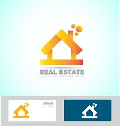 House 3d real estate logo icon vector