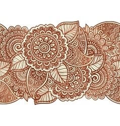 Indian henna tattoo style floral horizontal vector