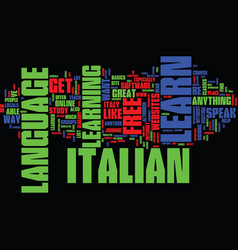 Learn italian for free easily text background vector