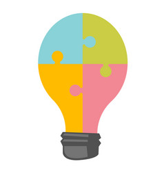 lightbulb made of jigsaw puzzle cartoon vector image
