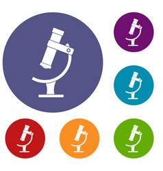 Microscope icons set vector