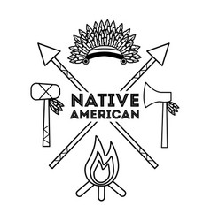 native american weapons tools icons set outline vector image