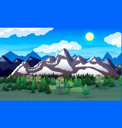 Night nature landscape forest mountains lake vector