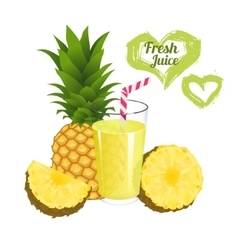 Pineapple juice isolated on white background vector image vector image
