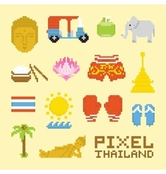 Pixel art isolated thailand objects vector