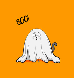 scary playful cat ghost vector image