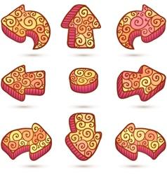 Set of orange doodle ornate arrows vector image vector image