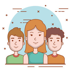 Set of people human woman and men young faces vector
