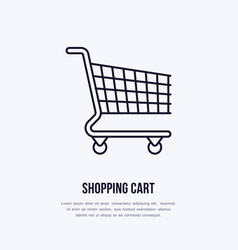 Shopping cart flat line icons retail store vector