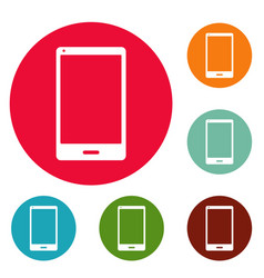 smartphone icons circle set vector image