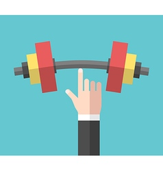 Strong hand holding dumbbell vector