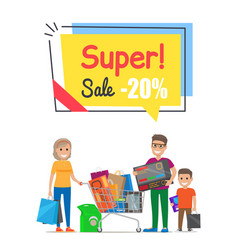 Super sale with 20 off promo poster with family vector