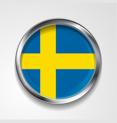 Swedish metal button flag vector