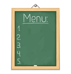 Vertical blackboard with menu vector