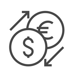Currency exchange thin line icon vector