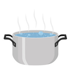 Boiled soup in pot meal with vegetables meat vector