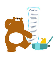 Bear checklist backpacking for traveler vector