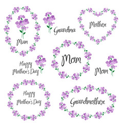 Happy mothers day set with violets vector