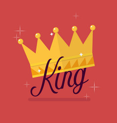 Crown with king typography vector