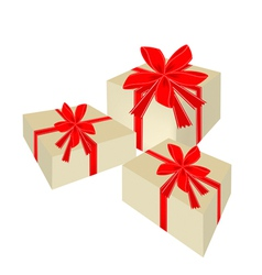 Three beautiful gift boxes with red ribbon vector